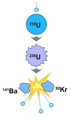 A nucleus of a uranium atom is struck by a neutron, becomes unstable and is divided into a nucleus of barium (Ba) and a krypton (Kr), and three more neutrons and energy