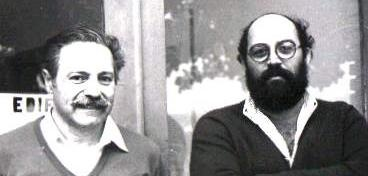 Professors Stephenson Caticha Ellis and Lisandro Pavie Cardoso in 1984 photo at the door of LPCM